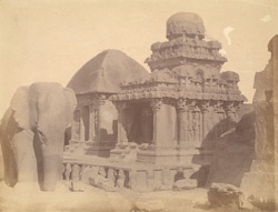 View from the south-west of the Arjuna Ratha and the Draupadi Ratha, Mamallapuram
